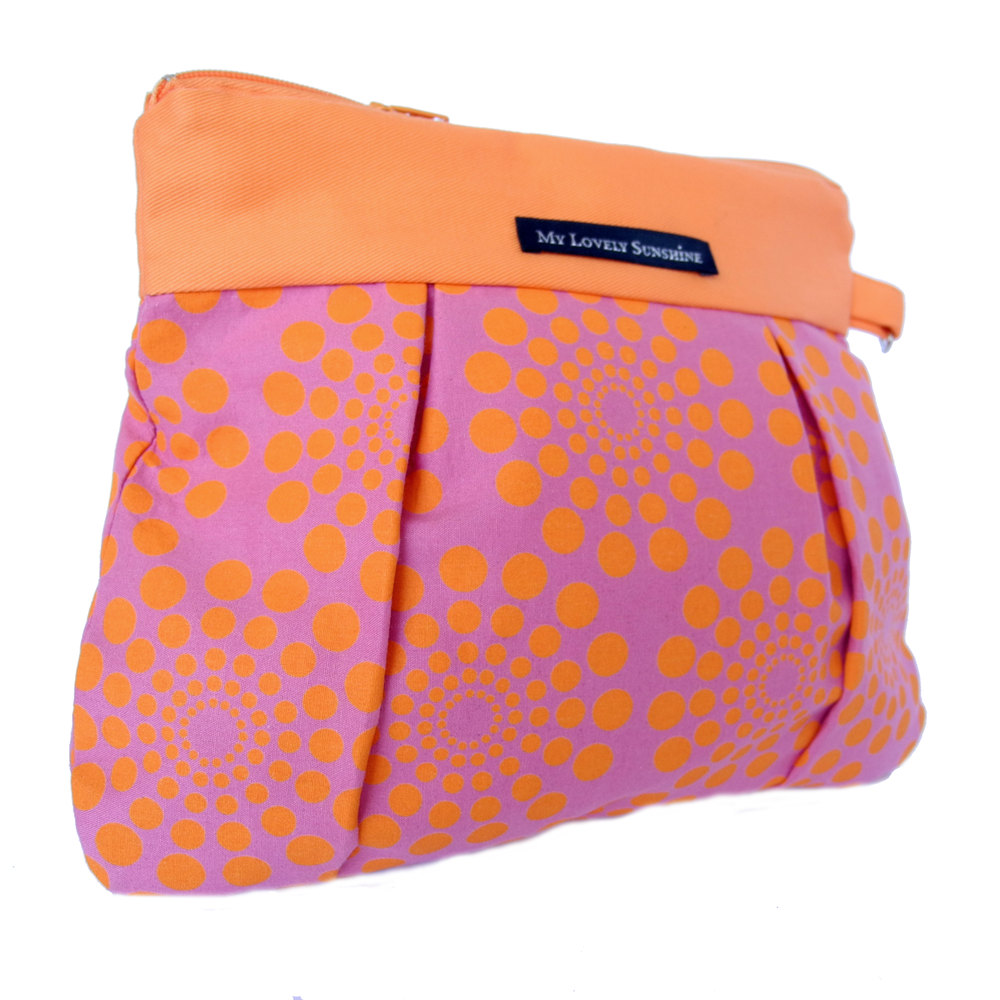 Wristlet / Clutch / Purse / Bag - Summer Party in Magenta and Orange